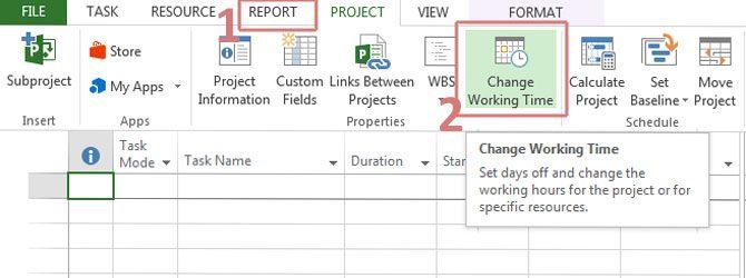 Kako promeniti radno vreme u MS Project-u?